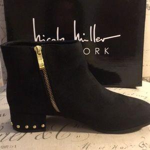 Nicole Miller black stud booties